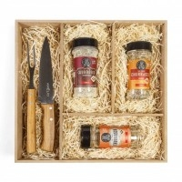 Kit Churrasco com Temperos e Conjunto Faca/Garfo
